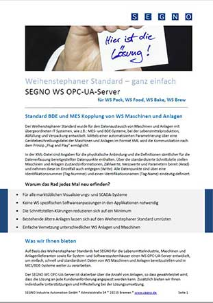 SEGNO Weihenstephan OPC Server